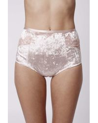 TOPSHOP - Pink Velvet And Lace Knickers - Lyst