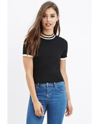 Forever 21 | Black Stripe-trim Ribbed Sweater You've Been Added To The Waitlist | Lyst