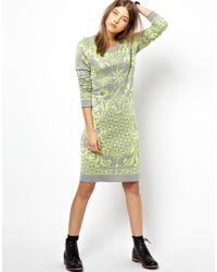 Paul by Paul Smith - Gray Intarsia Knitted Dress in Compass Print - Lyst