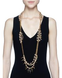 Erickson Beamon | Metallic Iron Butterfly' Cross Pendant Glass Pearl Necklace | Lyst