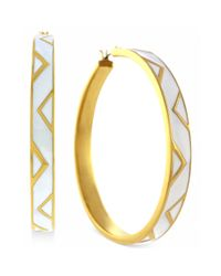 Vince Camuto - Goldtone White Enamel Chevron Hoop Earrings - Lyst