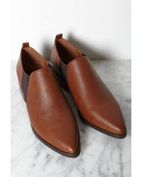 Forever 21 | Brown Faux Leather Chelsea Booties | Lyst