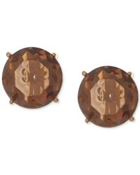 Anne Klein - Gold-tone Faceted Brown Stone Stud Earrings - Lyst