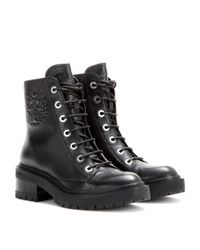 KENZO - Black Tiger Leather Boots - Lyst