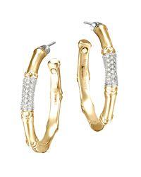 John Hardy | Metallic Gold Bamboo Pave Diamond Medium Hoop Earrings | Lyst