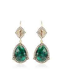Sylva & Cie | Green One Of A Kind Emerald and Champagne Diamond Earrings | Lyst