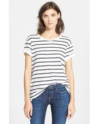 Vince - White Feeder Stripe Tee - Lyst