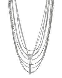 Vince Camuto | Metallic Tassel Pendant Multi-row Necklace | Lyst