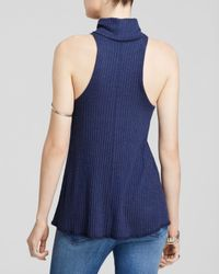 Free People | Blue New City Ribbed Turtleneck | Lyst