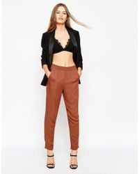 ASOS | Brown Woven Peg Trousers | Lyst