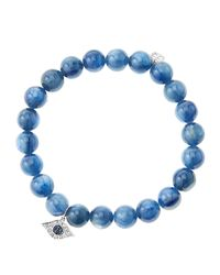 Sydney Evan | Blue 8Mm Kyanite Beaded Bracelet With 14K White Gold/Diamond Small Evil Eye Charm (Made To Order) | Lyst