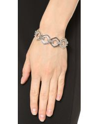 Eddie Borgo | Metallic Pave Lattice Bracelet - Silver | Lyst