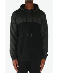 Blood Brother | Blackness Wax Coated Panelled Hoodie for Men | Lyst