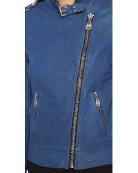Doma Leather - Blue Leather Moto Jacket - Lyst