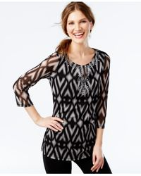 INC International Concepts | Black Embellished Ikat-print Mesh Tunic, Only At Macy's | Lyst