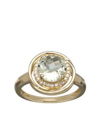 Lord & Taylor | Metallic 14k Yellow Gold Green Amethyst And Diamond Ring | Lyst
