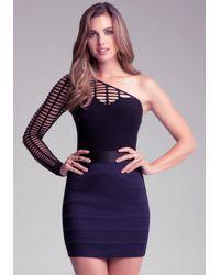 Bebe - Black One Shoulder Slash Bodysuit - Lyst