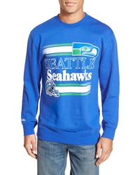 Mitchell & Ness - Blue 'seattle Seahawks' Tailored Fleece Crewneck Sweatshirt for Men - Lyst