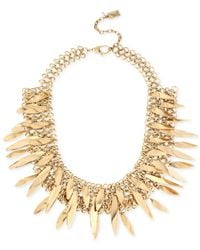 Kenneth Cole | Metallic Gold-tone Sculptural Stick Mesh Frontal Necklace | Lyst