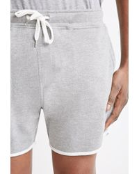 Forever 21 | Gray Contrast-trimmed Drawstring Sweatshorts You've Been Added To The Waitlist for Men | Lyst