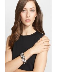 St. John | Metallic Octagon Crystal Link Bracelet - Gunmetal/ Crystal/ Grey Pearl | Lyst