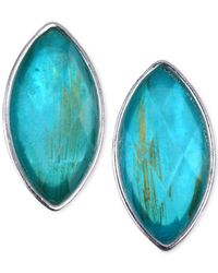 Jones New York - Blue Silver-Tone Navette Stone Clip-On Earrings - Lyst