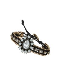 TOPSHOP - Womens Cup Chain Rhinestone Bracelet Brown - Lyst
