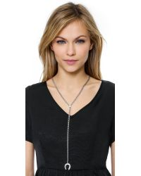 Giles & Brother - Metallic Horseshoe Lariat Necklace - Silver Ox - Lyst