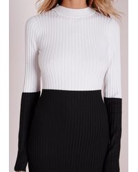 Missguided | Colour Block Turtle Neck Mini Dress Black/white | Lyst
