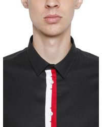 Bikkembergs - Black Stretch Cotton Poplin Short Sleeve Shirt for Men - Lyst