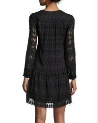 Rebecca Taylor - Black Long-sleeve A-line Lace Dress - Lyst