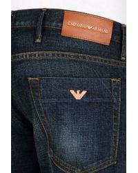 Emporio Armani | Blue Slim Fit Dark Wash Jeans for Men | Lyst