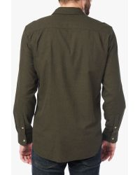 7 For All Mankind Green Long Sleeve Flap Pocket Shirt In Fatigue for men