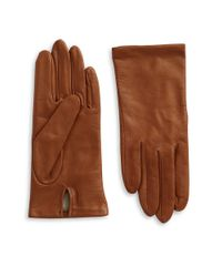 Lord & Taylor | Natural Silk-lined Leather Gloves | Lyst