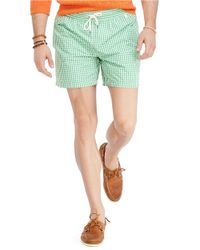 Polo Ralph Lauren | Green Traveler Gingham Swim Shorts for Men | Lyst