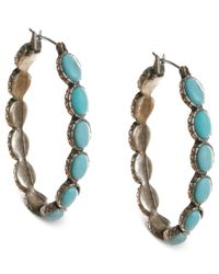 Lucky Brand | Blue Reconstituted Turquoise Hoop Earrings | Lyst