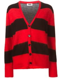 Sonia by Sonia Rykiel - Red Striped V-neck Cardigan - Lyst
