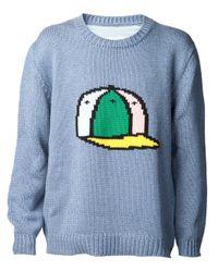 Julien David   Blue Snapback Knitted Sweater for Men   Lyst