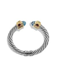 David Yurman | Renaissance Bracelet With Blue Topaz, Peridot, And 14k Gold, 10mm | Lyst