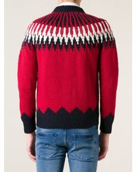 Moncler - Red Knitted Sweater for Men - Lyst