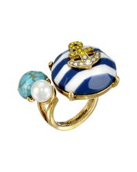Betsey Johnson | Multicolor Shipshape Stripe Anchor Cocktail Ring | Lyst