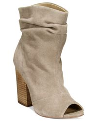 Chinese Laundry | Gray Break Up Peep-toe Suede Slouchy Booties | Lyst