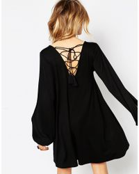 ASOS - Black Swing Dress With Split Sleeve And Lace Up Back - Lyst