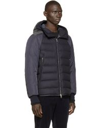 Moncler | Blue Navy Quilted Down Augert Ii Coat for Men | Lyst