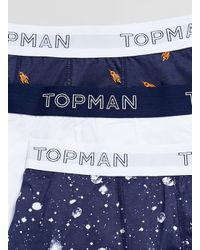 TOPMAN - Blue Rockets In Space 3 Pack Underwear for Men - Lyst