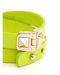 Valentino - Yellow Rockstud Double Wrap Hinge Leather Bracelet - Lyst