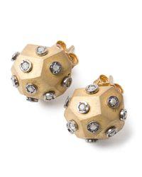 Amedeo - Metallic Diamond Ball Earrings - Lyst