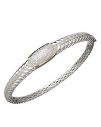 Lord & Taylor | Metallic Red Box Gallery Sterling Silver With 14k Yellow Gold Diamond Bangle Bracelet | Lyst