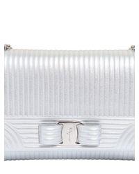 Ferragamo - Textured Metallic Leather Shoulder Bag - Lyst