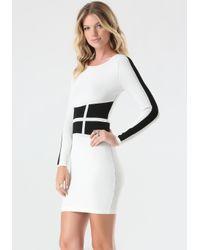 Bebe Black Patchwork Sweater Dress
